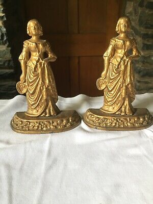 Pair Matching Vintage Cast Iron Ladies Book Ends
