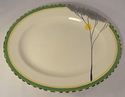 "Vintage Burleigh Ware Art Deco Green Dawn 12"" Oval Meat Serving Platter c1930"