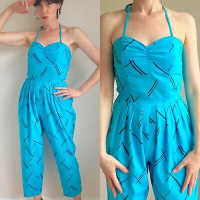 Vtg 1980s Turquoise HALTER Neck JUMPSUIT Romper Playsuit Disco Summer Medium