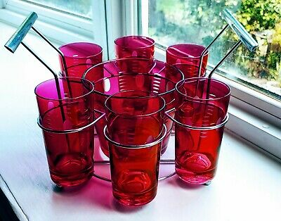 Stunning Art Deco Cocktail Set - Cranberry Glass - 1940s
