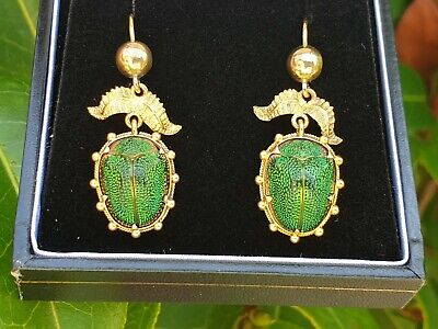Antique Victorian 15ct Yellow Gold Scarab Beetle Earrings Drop Dangle Jewellery