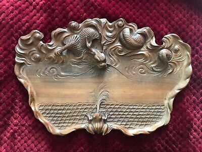 Remarkable ANTIQUE Chinese Wood Tray DRAGON facing a frog - beautifully carved