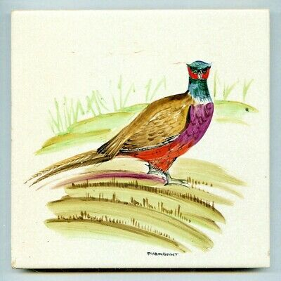 """Handpainted 6""""sq tile from the """"Game Bird"""" series by Packard & Ord, c1960"""