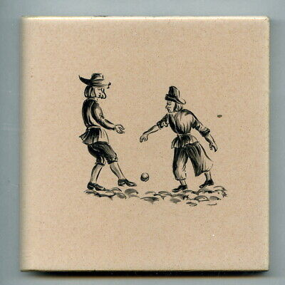 "Handpainted 4""sq tile from the ""Dutch"" series by Packard & Ord, c1956"