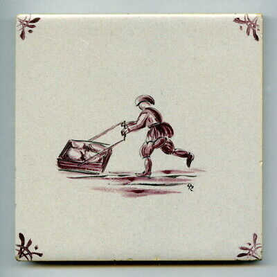 """Handpainted 4""""sq tile from the """"Dutch"""" series by Packard & Ord, 1962"""