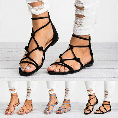Womens Strappy Gladiator Flat Sandals Ladies Summer Holiday Boho Shoes Size 4-8