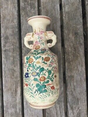 ANTIQUE ORIENTAL VASE WITH ELEPHANT HEAD HANDLES + HAND PAINTED FLOWERS  170 mm