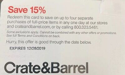 Crate & Barrel 15% Off Entire Purchase (FULL PRICE ONLY) Online/InStore 12/28/19
