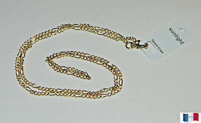 Collier Chaine Maille Figaro 70Cm Plaque Or Neuf