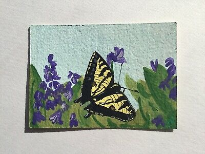 ACEO ATC original Painting, Butterfly,  Floral, Acrylic, Realism, Nature