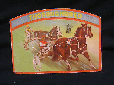 old sewing NEEDLE CARD vintage THOROUGHBED horse TROTS Needle Book