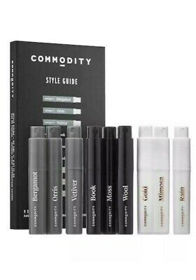 Commodity Style Guide Kit 9 x 2ml Travel EDP New sealed Commodity Gold/book/rain