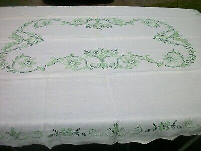 "Vintage White Tablecloth Cross Stitch Shades of Green 56"" x 74 Rectangle TC91"