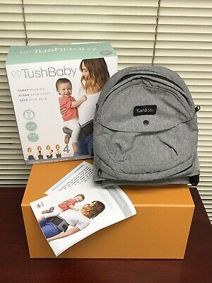 New TushBaby Safety Certified Hip Seat Baby Carrier Grey