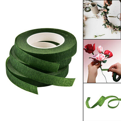 Rolls Waterproof Green Florist Stem Elastic Tape Floral Flower 12mm ZY vbuk