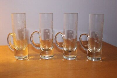 Beautiful Etched Shot Glasses with Handle