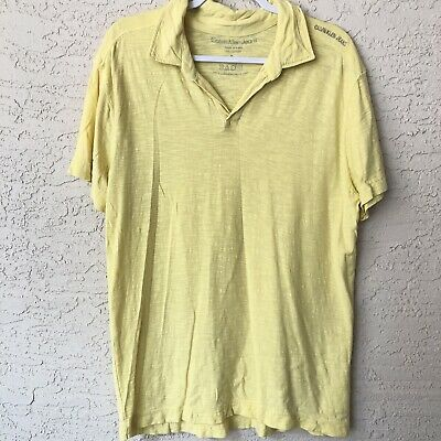 Calvin Klein Polo Mens Large Yellow Collared Shirt Short Sleeve