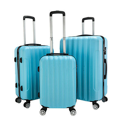 3 Luggage Set Plastic Travel Suitcase Waterproof Carry On Storage Case Blue US