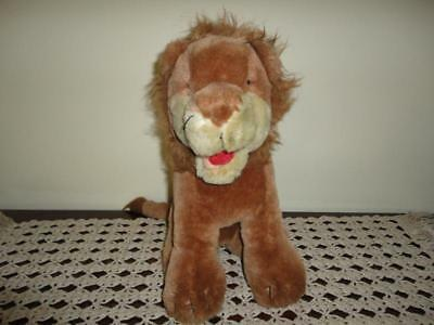 Antique Brown Mohair Lion Glass Eyes 12 Inch Sitting Heavy Wood Fiber 1950s