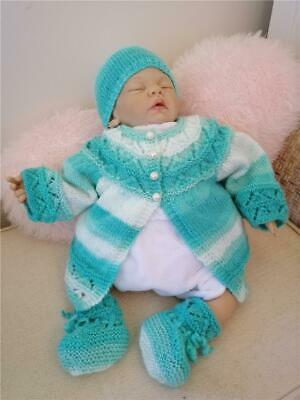 Knitted Baby 3 piece set Hand knitted Jacket Hat Booties newborn - 3 months