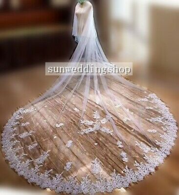 Elegant Ivory/White 2T Cathedral Length Lace Edge Bridal Wedding Veil With Comb