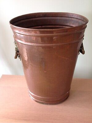 Vintage French Copper Walking Stick Umbrella Stand Holder With Brass Handles