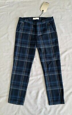 NWT ZARA GIRLS Kids BLUE PLAID PANTS 140 SZ 9 / 10