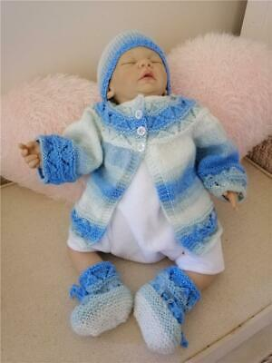 Knitted Baby 3 piece set Hand knitted Jacket Hat Booties newborn - 3 mths blues