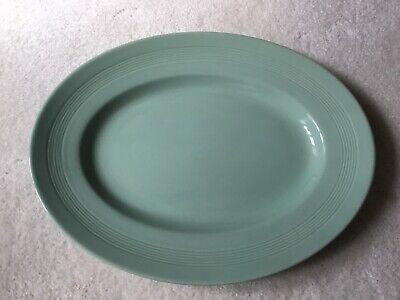 "Vintage Woods Ware Green Beryl Oval Platter or Steak Plate 12""x 9"" Good Cond"
