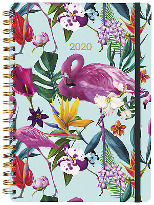 2020 Milford Spring Flowers Flamingo Diary A5 Day to Page