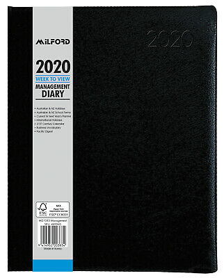 2020 Milford Desk Management Diary Week to View Vertical Black 441060