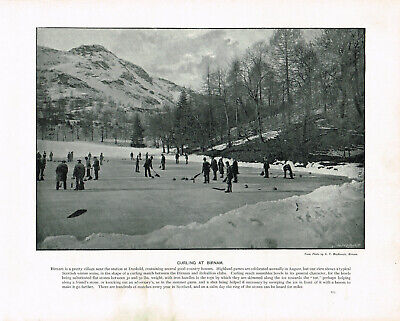 Curling At Birnam, Dunkeld Scotland 1900 Single Sided Antique Print SASIS#273
