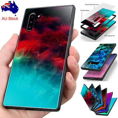 Hybrid Tempered Glass Case Shockproof Cover For Samsung Galaxy S10 Note 10+ Plus
