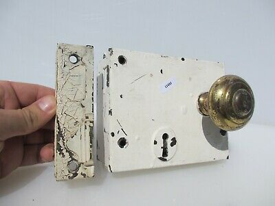 Victorian Iron Door Lock Antique Old Vintage Brass Knobs Keep Georgian NO KEY