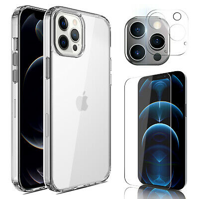 For iPhone 11 Pro Max 2019 Crystal Clear Case Cover With Glass Screen Protector