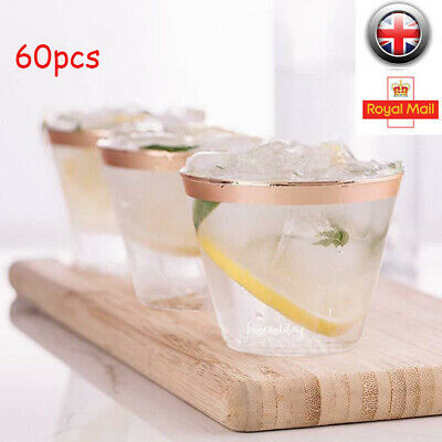 60pcs Clear Strong Plastic Tumblers Cups Disposable- Juice Wine Whisky 9oz 270ml