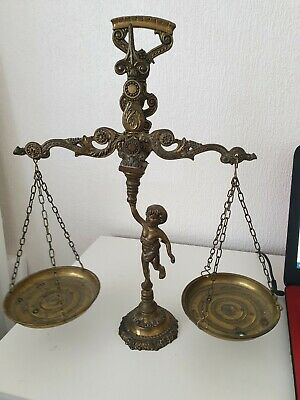 Vintage Solid Brass Scales Cherub Holding Weight Collectable