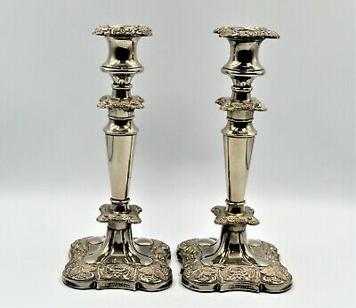 Antique English Silver Plated Candlesticks Vine & Grape Detail Made In England