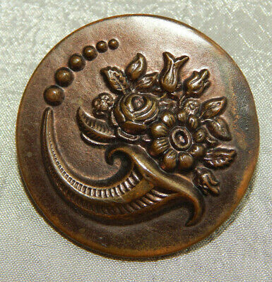 Antique Vintage Brass Picture Button Coricopia of Flowers Extra Large #309-A