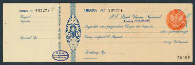 "Indonesia: 1964 Bank Umum Nasional ""RARE UNISSUED CHEQUE"" Semarang + Duty Stamp"