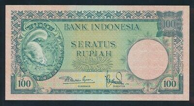 "Indonesia: 1957 100 Rupiah ""RARE THIS NICE"". Pick 51a UNC Light handling"