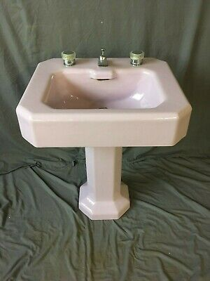 Antique Cast Iron Lavender Porcelain Deco Pedestal SInk Vtg Kohler Bath 163-19E