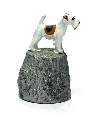 Hand Painted Stephen Frost Pewter Thimble Fox Terrier Dog Topper