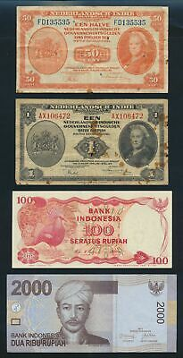 "Netherlands Indies: Indonesia 1943-2011 ""COLLN OF 10 DIFFERENT"". Pick 110a-148c"