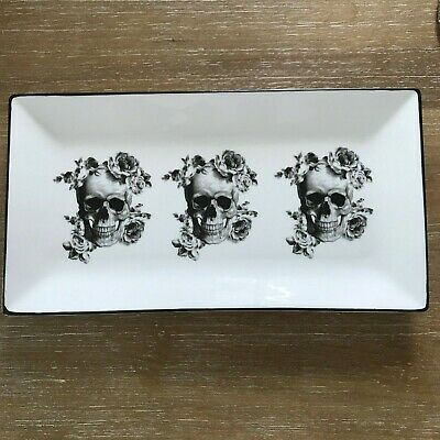 Ciroa Wicked Chna Floral Skull Halloween Appetizer Tray Serving Plate New