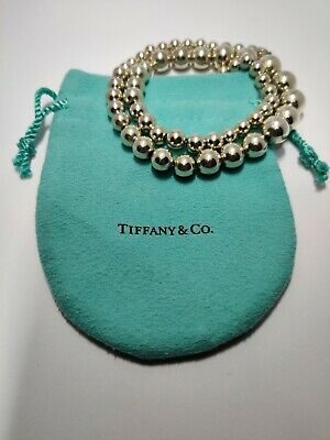 TIFFANY & CO 925 Sterling Silver Graduated 5.8-10.9mm Ball Bead Necklace w/Pouch