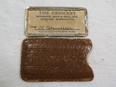 "Vintage Spokane,WA ""The Crescent""Early Dept Store Plate Credit Card w/ Sleeve-db"