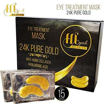 15 Pairs 24K Gold Eye Mask Pads Collagen Hyaluronic Acid Anti Aging Myah Beauty
