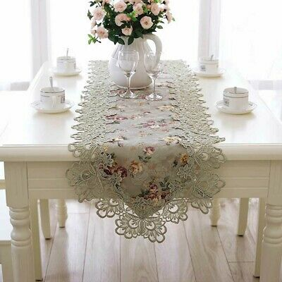 Lace Embroidered Floral Table Runner Wedding Banquet Party European Tablecloth