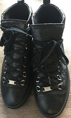 bfbd8491 MEN'S VERSACE BLACK Leather Gold Studded High-Top Sneakers Shoes ...